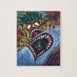 "Zombie Shark Fight Jigsaw Puzzle<br><div class=""desc"">Graffiti Style,  Zombie Fights Shark Conceptual Art. Modern Horror Art by Laura Barbosa</div>"
