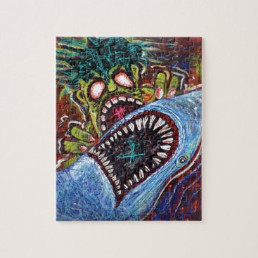 LauraBarbosaArt Zombie Shark Fight Jigsaw Puzzle