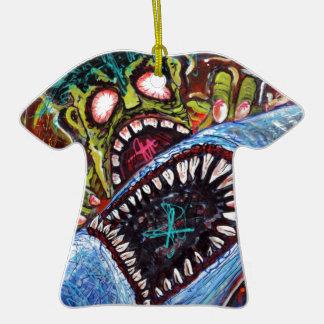 Zombie Shark Fight Ornaments