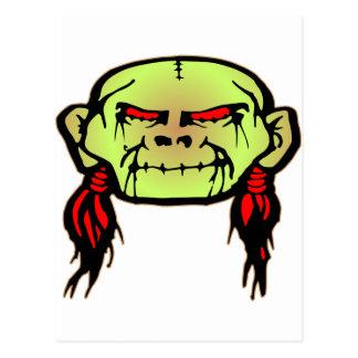 Zombie Shrunken Head Skull Postcard