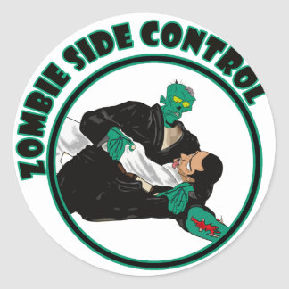 Zombie Side Control Classic Round Sticker
