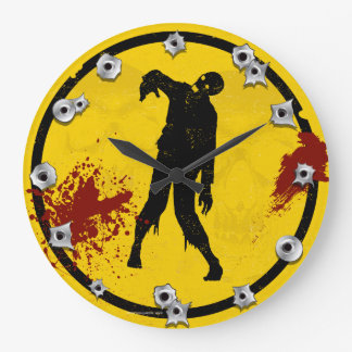 Zombie Silhouette in Yellow Black Plate Blood Large Clock