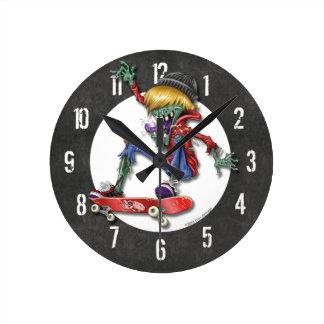 Zombie Skateboarder Wall Clock