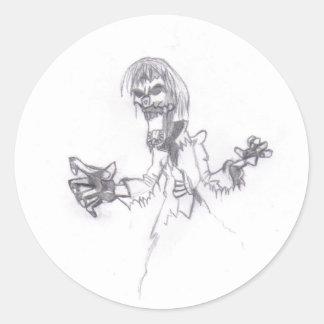 Zombie Sketch Classic Round Sticker