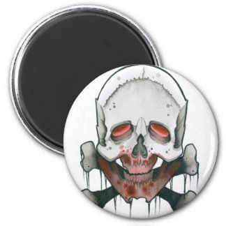 Zombie Skull and Crossbones 2 Inch Round Magnet