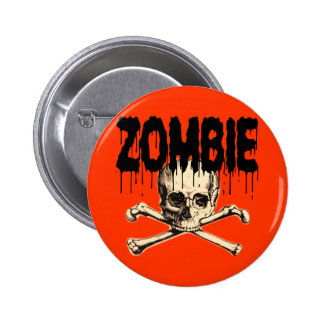 Zombie Skull Black 2 Inch Round Button