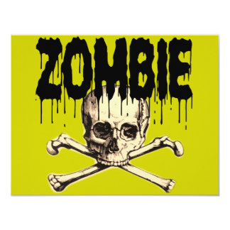 Zombie Skull Black Card