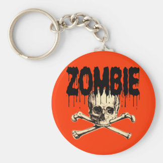 Zombie Skull Black Basic Round Button Keychain