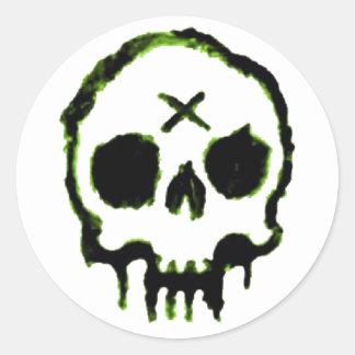 Zombie Skull Classic Round Sticker