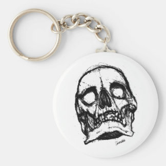 Zombie Skull Drawing 2 Basic Round Button Keychain