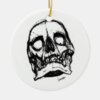 Zombie Skull Drawing 2 Ceramic Ornament