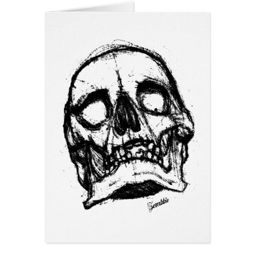 Zombie Skull Drawing 2 Greeting Card