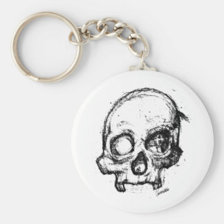 Zombie Skull Drawing 3 Basic Round Button Keychain