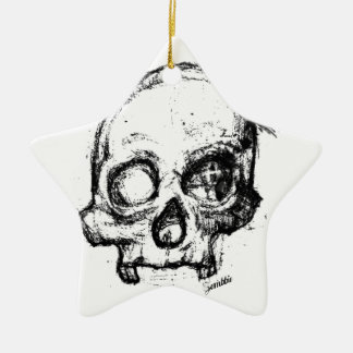 Zombie Skull Drawing 3 Ceramic Ornament