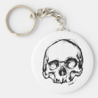 Zombie Skull Drawing 4 Basic Round Button Keychain