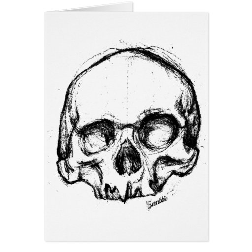 Zombie Skull Drawing 4 Greeting Card