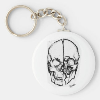 Zombie Skull Drawing 7 Basic Round Button Keychain