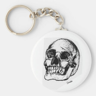 Zombie Skull Drawing 9 Basic Round Button Keychain