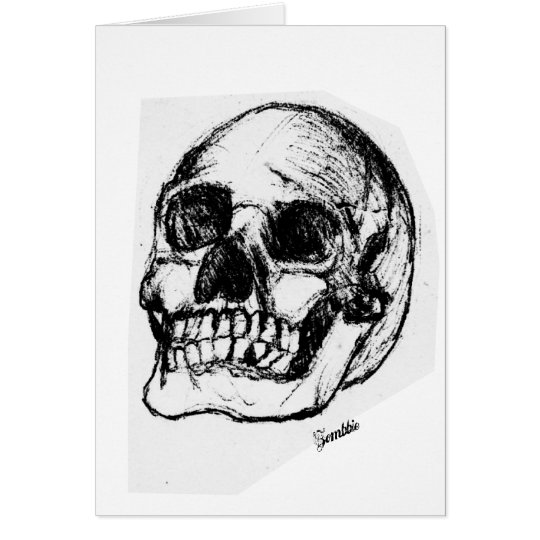 Zombie Skull Drawing 9 Card