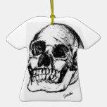 Zombie Skull Drawing 9 Christmas Tree Ornament