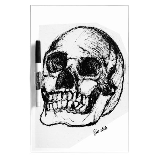 Zombie skull drawing 9 dry erase board zazzle for Stuff to draw on a whiteboard