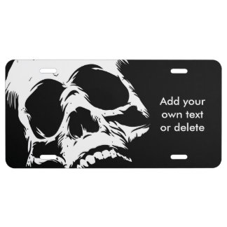 Zombie Skull Face License Plate