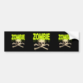 Zombie Skull - Green Car Bumper Sticker