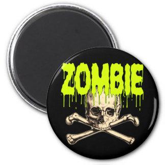 Zombie Skull - Green Magnet