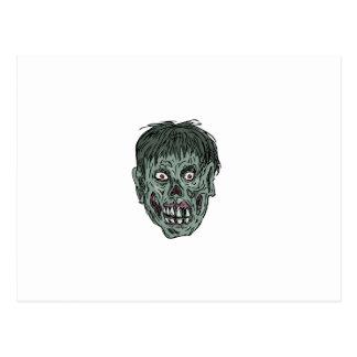 Zombie Skull Head Drawing Postcard