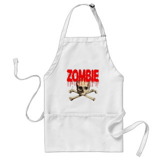 Zombie Skull Red Adult Apron
