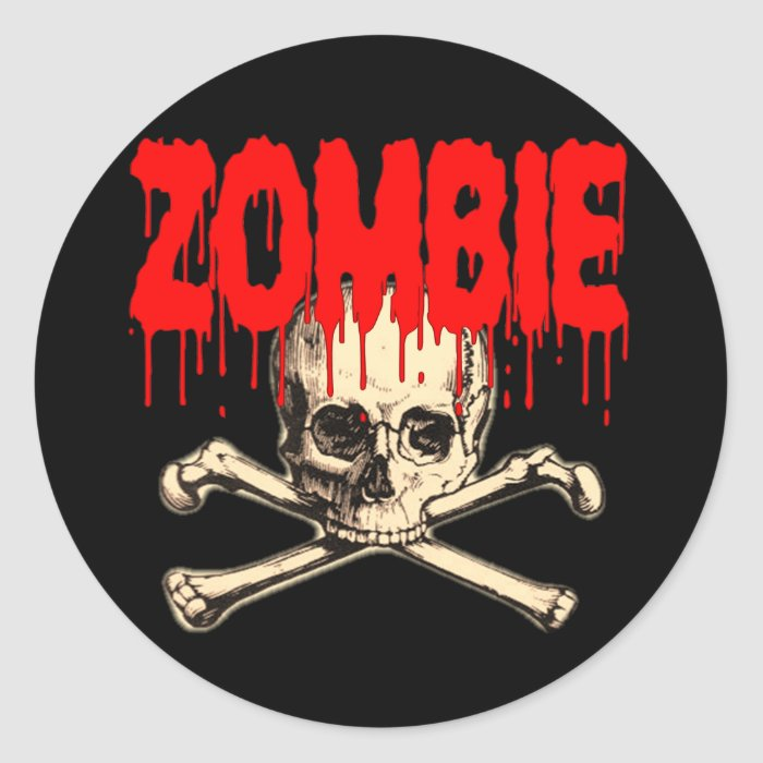 Zombie Skull Red Classic Round Sticker