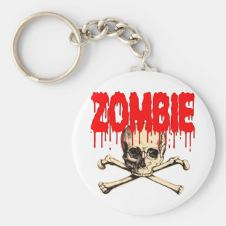 Zombie Skull Red Keychain