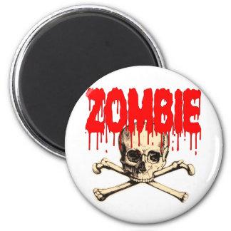 Zombie Skull Red Magnet