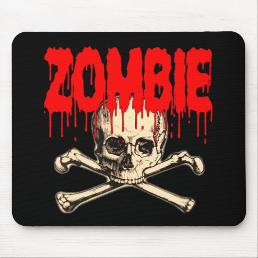 Zombie Skull Red Mouse Pad