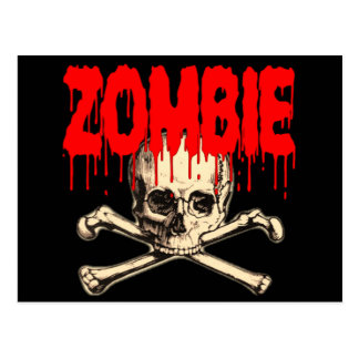 Zombie Skull Red Postcards