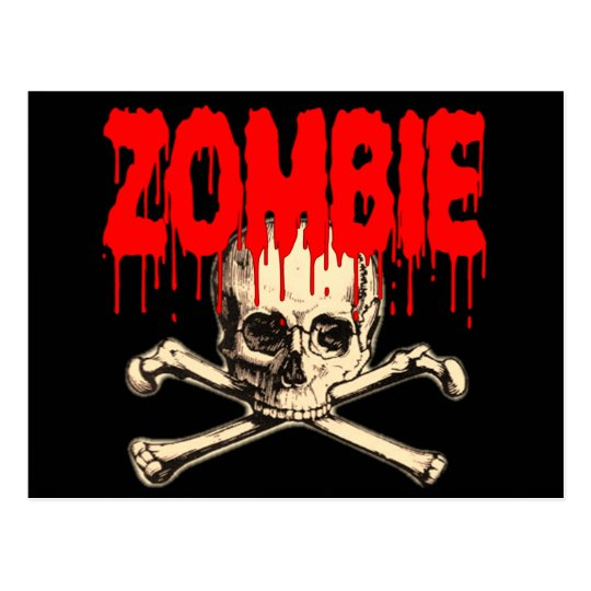 Zombie Skull Red Postcard