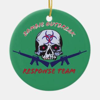 zombie skulls ceramic ornament