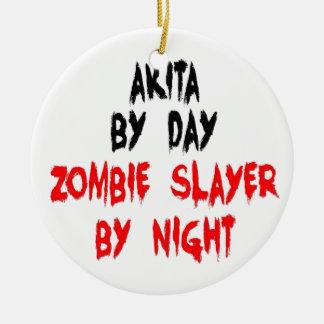 Zombie Slayer Akita Dog Double-Sided Ceramic Round Christmas Ornament