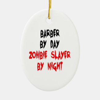 Zombie Slayer Barber Double-Sided Oval Ceramic Christmas Ornament