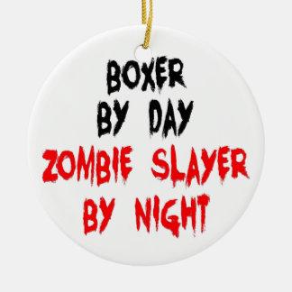 Zombie Slayer Boxer Dog Double-Sided Ceramic Round Christmas Ornament
