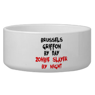 Zombie Slayer Brussels Griffon Dog Bowl