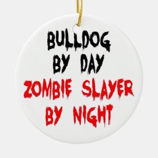 Zombie Slayer Bulldog Double-Sided Ceramic Round Christmas Ornament