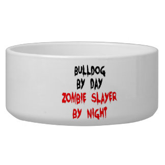 Zombie Slayer Bulldog Pet Bowls