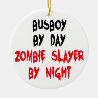 Zombie Slayer Busboy Double-Sided Ceramic Round Christmas Ornament