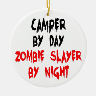 Zombie Slayer Camper Double-Sided Ceramic Round Christmas Ornament