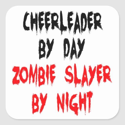 Zombie Slayer Cheerleader Square Sticker