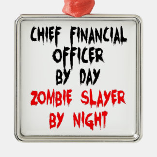 Zombie Slayer Chief Financial Officer Square Metal Christmas Ornament