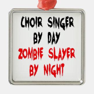 Zombie Slayer Choir Singer Square Metal Christmas Ornament