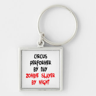 Zombie Slayer Circus Performer Silver-Colored Square Keychain