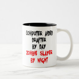 Zombie Slayer Computer Aided Drafter Two-Tone Coffee Mug